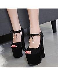 GTVERNH-modello scarpe eleganti 15-17cm super tacchi pesante tallone impermeabile piattaforma baotou unico negozio di scarpe di notte le scarpe 37 black