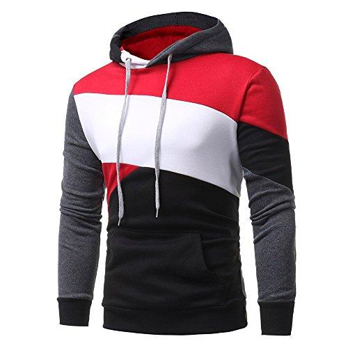 Honestyi herren Herren Kapuzenpullover, Herren Langarm Hoodies Sweatshirt Tops Jacke Mantel Abnutzung Kapuzenpullover(Schwarz,XL)