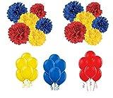 GEMAR 50 Ballons, 9 Pompons (Rouge, Jaune, Bleu)