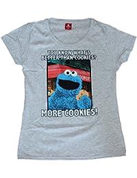 31b5f82f32 Sesame Street Sesamstrasse Krümelmonster More Cookies Girl Shirt  Grau-Meliert