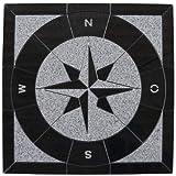 Granit Rosone 90x90 cm für Draußen Windrose Mosaik Einleger Schwarz Weiss 076