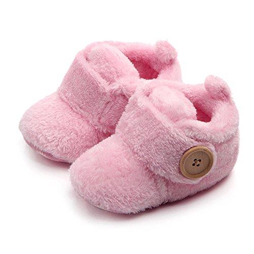 Moginp Babyschuhe Kleinkind Wanderer Babyschuhe Runde Spitze Wohnungen weiche Schnalle Schuhe Lauflernschuhe Pink,3-6 Monate