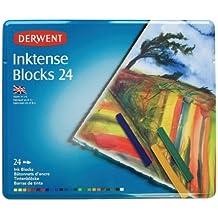 Derwent Inktense - Barras de tinta soluble en agua (24 colores, en estuche de metal)