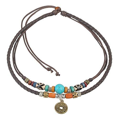 Alter Stamm Unisex einstellbare Hanf Leder Choker Halskette Türkis Bead (Braun)