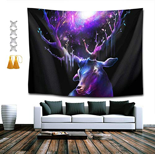 BAOQIN Tapiz Hippie Tapestry, Galaxy elk Deer Universe Tapestries, Indian Dorm Decor, Psychedelic Tapestry...