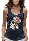 PIXEL EVOLUTION Camiseta sin Mangas 3D CRANEO Skull OMER en Realidad Aumentada Mujer - tamaño M - Azul Marino