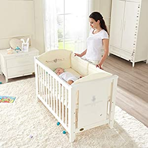 DUWEN Baby Cot Solid Wood European Style Multifunction Splicing Bed Game Bed Children's Bed Sofa Bed   14