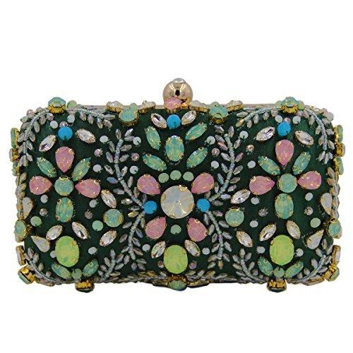 Frauen-Diamant-Handgefertigte Perlen Abendtasche Gem Handtasche Green