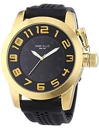 Mike Ellis New York an:e - Reloj de cuarzo para hombre, correa de silicona color negro