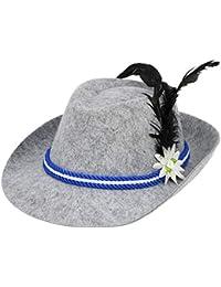 com-four® Trachtenhut für Oktoberfest, Karneval oder Fasching, Bayernhut aus Filz mit blau/weißer Kordel, Seppelhut