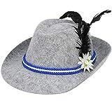 com-four® Sombrero tradicional con pluma para el Oktoberfest, carnaval o carnaval, sombrero Bayern hecho de fieltro con cordón azul/blanco (01 pieza - sombrero tradicional)