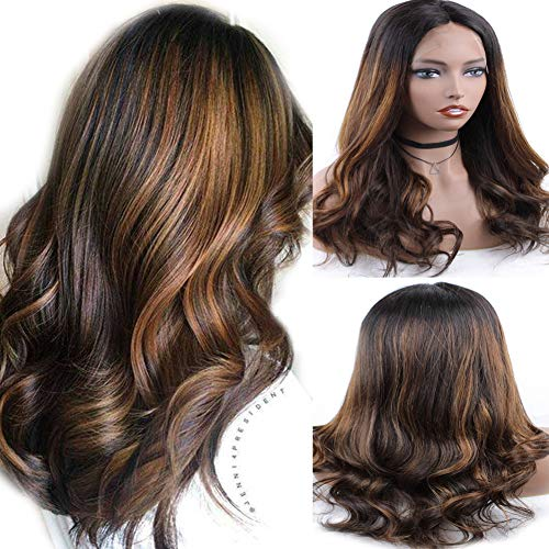 Zana Wigs Lace Front Wig Human Hair Highlights Short Ombre 100% Real Hair Wigs For Women Body Wave Brazilian Hair Wigs 16inch