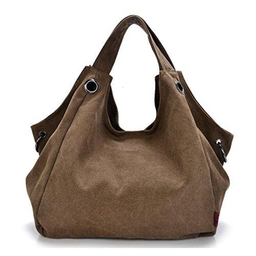 Keshi Leinwand Cool Damen Handtaschen, Hobo-Bags, Schultertaschen, Beutel, Beuteltaschen, Trend-Bags, Velours, Veloursleder, Wildleder, Tasche Café
