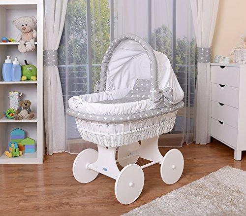 WALDIN Cuna Moisés, carretilla portabebés XXL, 26 modelos a elegir,Madera/ruedas lacado en blanco,color textil blanco/estrellas-blanco