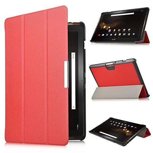 Acer Iconia One 10 B3-A30 Hülle, IVSO Ultra Schlank Superleicht Ständer Slim Leder zubehör Schutzhülle für Acer Iconia One 10 (B3-A30) 25,7 cm (10,1 Zoll HD) Tablet-PC perfekt geeignet (Für Acer Iconia One 10 (B3-A30), Rot)