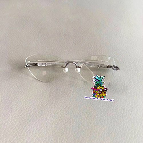 OVAL Frame Rimless Pen Leg Pearl Pads Glasses for Percy Lau DaDa Child 2 OVAL - transparent leg