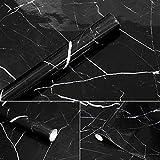 APSOONSELL Granit Marmor Effekt Tapete Selbstklebende Peel Stick Rolling Sticker Wand Aufkleber für Küche Badezimmer Tisch Hintergrund Dekoration,Schwarz(15.7