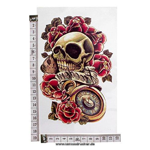 1 x Halloween Tattoo für Männer & Frauen Bunte Schädel mit Rosen und Freiheit Tattoo-Aufkleber - Skull, Roses, Freedom (1)