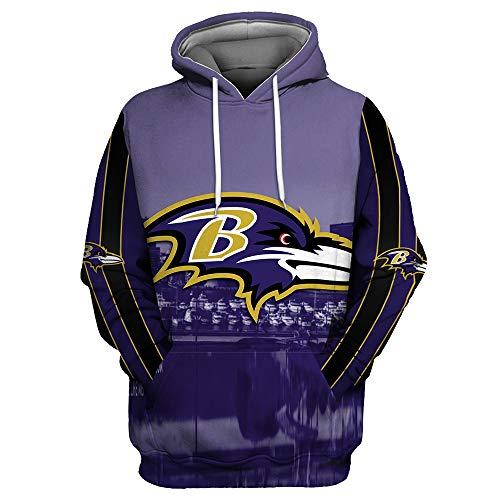 ZXTXGG Männer 3D Hoodies Baltimore Ravens NFL Football Team Uniform Muster Digitaldruck Kapuzenpullis Liebhaber Kapuzenpullis(XL,Himmelblau)