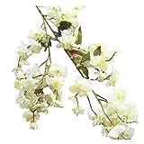 Mimihuhu 1PC-Fleur De Cerisier, Prune, Fleur Artificielle,Artificielle Faux Fleurs De Cerisier Soie,Fleur Mariée (Blanc)