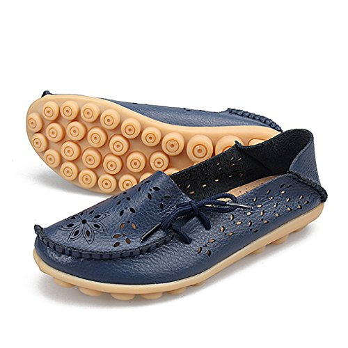YY-Rui Damen Mokassin Slipper Slip-On Leder Bequem Schuhe Halbschuhe Freizeit Loafer Damenschuhe Sommer Fahren Dunkelblau