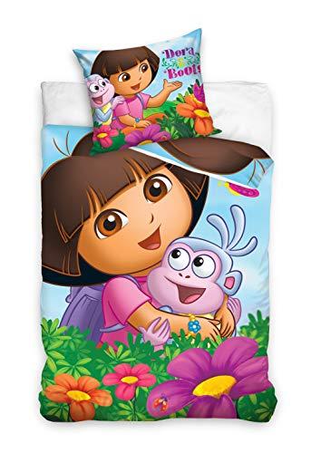Dora Bettwäsche Freunde 140x200 + 70x80 and Friends 100% Baumwolle Nickelodeon Bettbezug Kinderbettwäsche