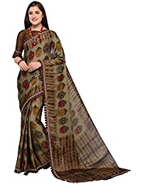 EthnicJunction Golden Brown Georgette Abstract Kalamkari Buddha Printed Saree With Unstitched Blouse Piece (EJ1168...