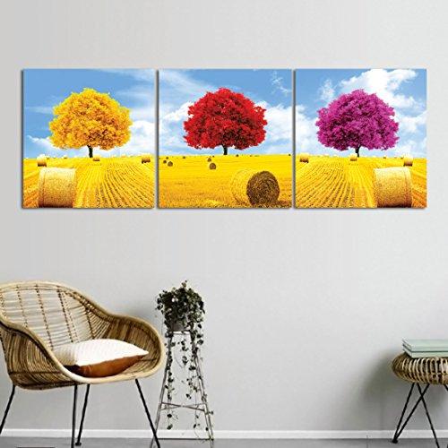 Árbol de Four Seasons,Árbol de la Vida,Amarillo,Rojo,Púrpura_Pared arte pintura al óleo imagen en lienzo decoración del hogar 3 paneles 40x 40 cm sin marco