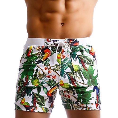 Taddle - bañador largo para hombre, estilo bermuda, con estampado de flores, para natación y surf...