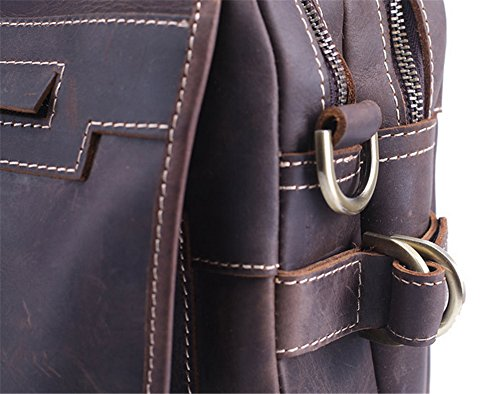 Xinmaoyuan Männer Handtaschen aus Leder, für Männer Business Package Aktentasche Travel Handtasche Crazy Horse Leder Laptoptasche, dunklen Kaffee Dunkle Kaffee