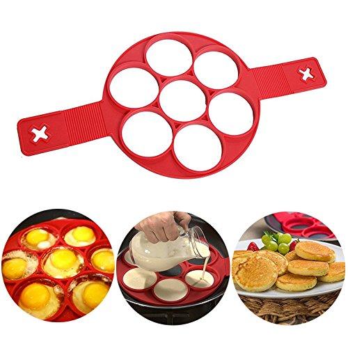 KAINI Nonstick Silikon Ei Ring Pfannkuchen Form, Neue verbesserte Silikon auslaufsichere Design, Fantastic Fast&Einfache Möglichkeit Perfekte Pancakes (Ei-ring Mikrowelle)
