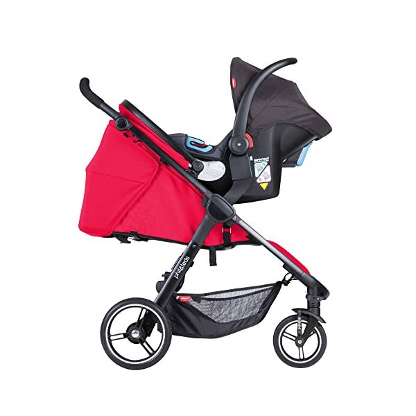"""Phil&teds Smart Buggy Pushchair, Cherry phil&teds Foot fold - intuitive, compact, one-piece standing foot fold - a world's first of its kind - is only 23"""" wide, making it perfect for tight city spaces Smooth ride tires - super-smooth, hassle-free riding with 10"""" rear puncture-proof, aerotech wheels and suspension on all four wheels; convenient hand-operated parking brake offers easy braking control at your fingertips Lightweight - stroller weighs 23.5 lbs. and includes a main, full-size seat that holds up to 44 lbs., an extendable leg and a sun hood with zip-out extension and silent peek-a-boo flap 3"""