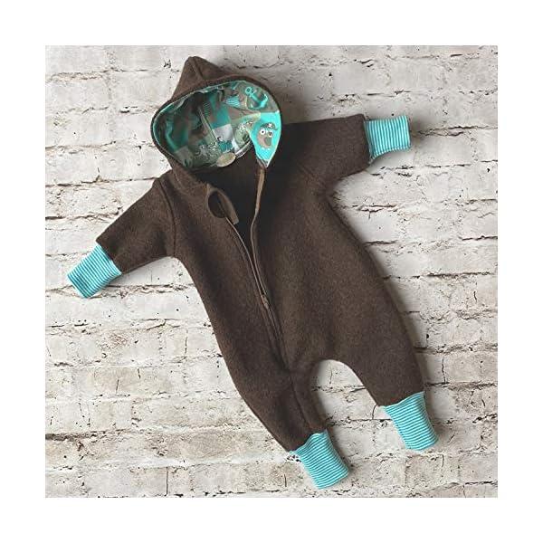 Lilakind Mono para bebé, Mono con Capucha, marrón Marino, Talla 56/62-116/122 – Fabricado en Alemania. 4