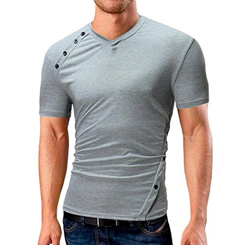 MOIKA Herren Schlank T-Shirt Herren Sommer New Herren Sommer Casual Solid Knopf V-Ausschnitt T-Shirt Kurzarm Top Bluse(L,Grau)