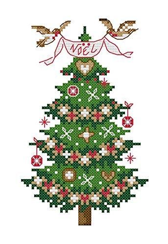 Lemon Tree Kreuzstich Starter Kits Anfänger Kreuzstich Genaue Vorgedrucktes Muster-Merry Christmas 11CT 17,8x 22,9cm rahmenlose (Weihnachtsbaum) (Happy Stitch Halloween)
