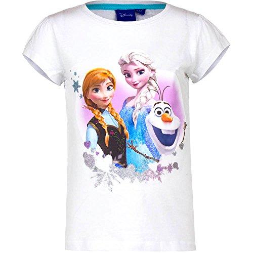 Disney Frozen Die Eiskönigin T-Shirt, Original Lizenzware, weiß, Gr. 116 (Anna Frozen Shirt Kleinkind)