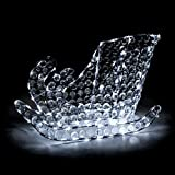 Slitta di Babbo Natale h40 cm in cristalli di acrilico 120 led - luce fissa - bianco freddo