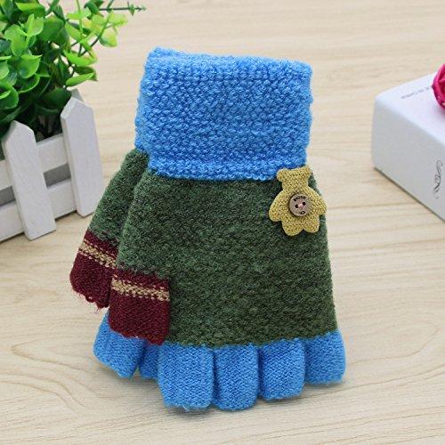 QH Kinderhandschuhe Halbwinterwärme Fünf-Finger-Handschuhe,E-