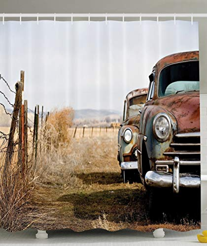 tgyew Old Cars Decorations Collection, Vintage Classic Abandoned Rusty Wyoming Cars Antique Pictures, Polyester Fabric Bathroom Shower Curtain, 60x72 inches, White Beige Brown (Halloween 1982 2)
