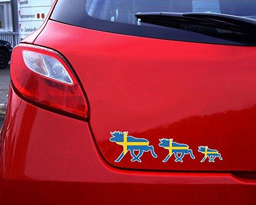 plot4u Elchkarawane Aufkleber Set Elch Karawane Elchhirsche Schweden Flagge Nationalfarben in 8 Größen (20x5,5cm)