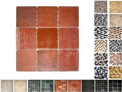 1Netz Marmor Mosaik Rosso 100 von Mosaikdiscount24 bei TapetenShop