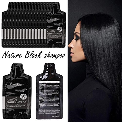Ularma Natural Black Hair Dye Shampoo, Lasting Practical Gray Root Cover Up Black Hair Dye Permanent (Black)