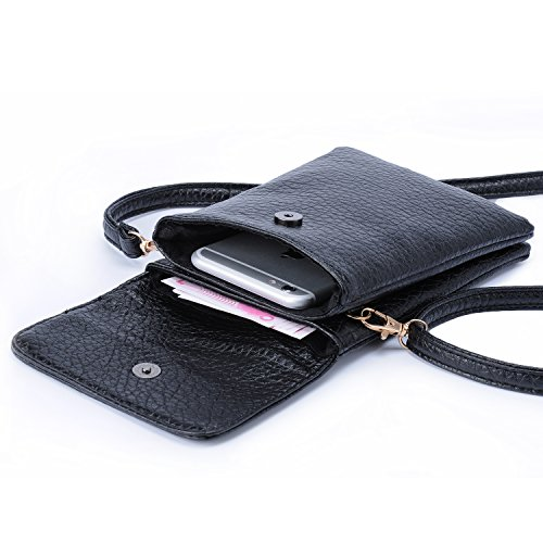hengying-pu-leather-mini-cell-phone-cross-body-bag-phone-camera-pouch-with-3-pockets-black