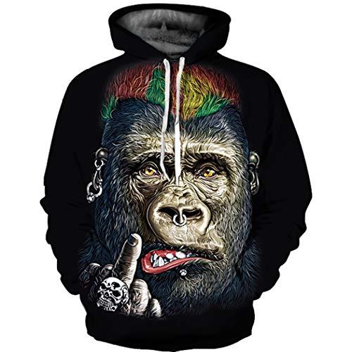 XINGMU Hoodie 3D-Digitaldruck Gorilla Paar-Stil Langärmliges Sweatshirt Baseballuniform L/XL