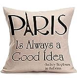 KingstonS lino y algodón Inglés Cartas Funda de almohada manta almohada cojín Paris es siempre una buena Idea
