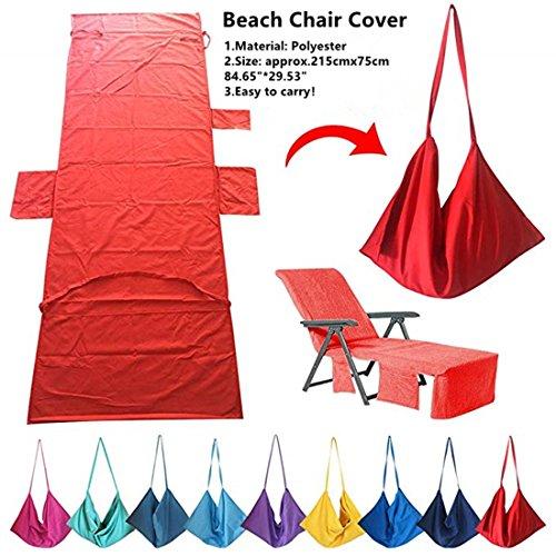 Laxllent Mikrofaser Schwimmen Strandtuch, Strandstuhl Handtücher,Liege Mate, Schnell Trocknend,für Strand Camping Garten mit Taschen,Rot,215x75cm (Tasche Schwimmen-kurze)