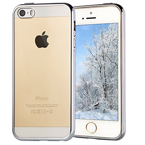Coque iPhone SE, Transparent Clair Gel Silicone [Ultra Slim] + [Anti-Rayures] + [Anti-Choc] Bumper en TPU Souple Coque Clair Étui Housse pour Apple iPhone 5/5S/SE