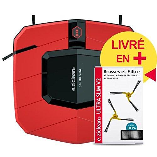 e.ziclean ULTRA SLIM RED V2 | Ultra Flacher Saugroboter | Staubsauger-Roboter | Geeignet für bis zu 90m²