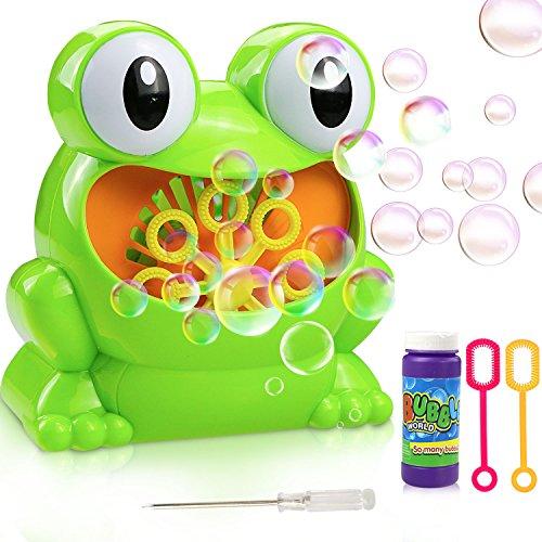 Gifort automatisch Seifenblasenmaschine Neuer großer Augenfrosch Tragbare Seifenblasenmaschine Kinder in Buntem Design für Kinder/ Erwachsene - Ideal Geschenk für Hochzeit/ Deko/ Kindergeburtstag (Neuer großer Augenfrosch)