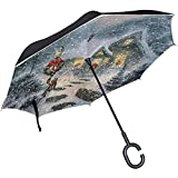 Alice Eva Reverse Umbrella Snowy Christmas Eve Winddichte Doppelschicht für Auto